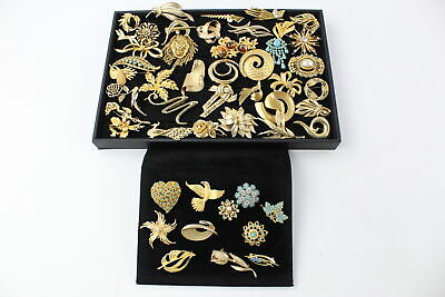 50 x Vintage & Retro 1980s Gold Tone BROOCHES inc. Sarah Coventry, Sphinx