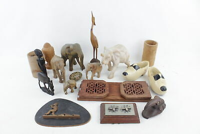 Job Lot Of Vintage WOODEN Ornaments Inc. Buddha, African, Bookends, Elephant Etc