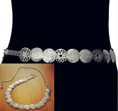 Vintage Waistband Metal Waist Chain Vogue Belt Wide Silver Coins Band Women