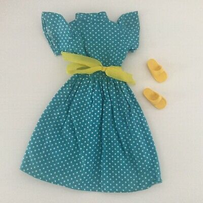 Sindy Turquoise Dress With Yellow Ribbon & Shoes