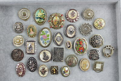 30 x Vintage & Retro BROOCHES & SCARF CLIPS inc. Portrait, Quirky, Kitsch