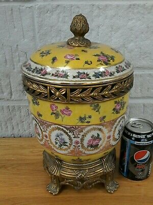 United Wilson Chinese  Large Lidded Jar On Bronze? Stand. Yellow Floral. H 32Cm.
