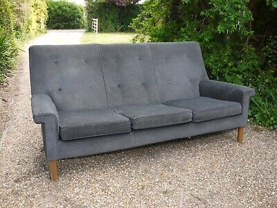 Vintage classic Danish style 70s 3 seater sofa.