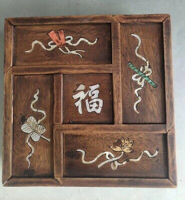 Collectable Boxwood Inlay Conch Hand Carve Flower Rattan Lucky Girl Jewelry Box