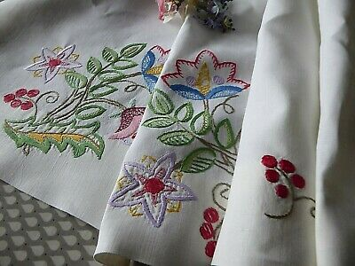 Vintage Hand Embroidered Linen Curtains/ Embroidered Jacobean/Arts&Crafts Style