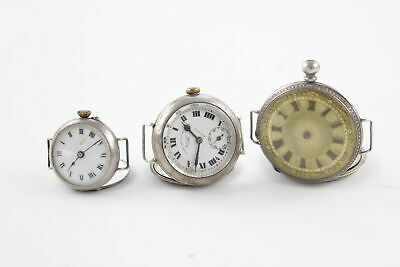 3 x Ladies .935. .999, .925 STERLING Silver Trench Style / Converted Fob Watches
