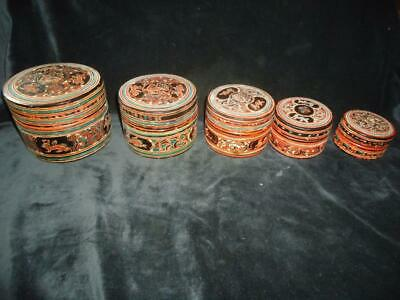 Burmese Lacquerware 5 nested boxes very decorative oriental antique Burma