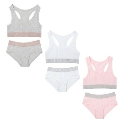 Girls Crop Top And Bikini Short Brief Sets Sporty Pink, White or Grey Set 7-13yr