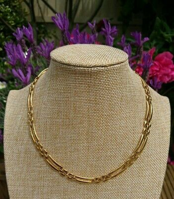 Vintage Signed Monet Classic Style Gold Tone Link Necklace Circa 1980's