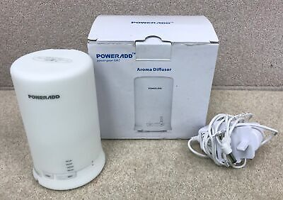 """Power Add White Aroma Diffuser LED Colour Changing 6.5"""" Tall With Lead #620"""