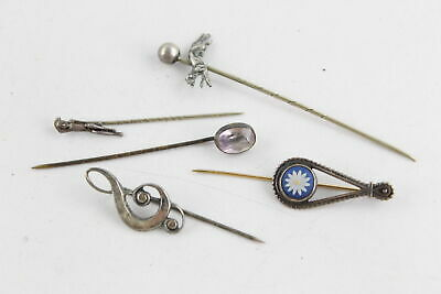 5 x Antique SILVER Topped Gents TIE PINS inc. Hunt, Wedgewood, Treble Clef, Gem