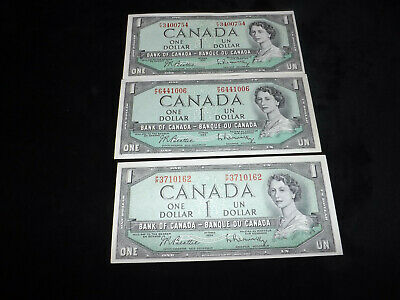 Bank Of Canada Lot Uncirculated 3X 1954 $1.00 Notes