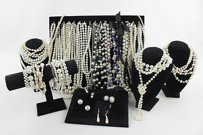40 x Vintage & Retro FAUX PEARL JEWELLERY inc. Silver Tone, Earrings, Bracelets