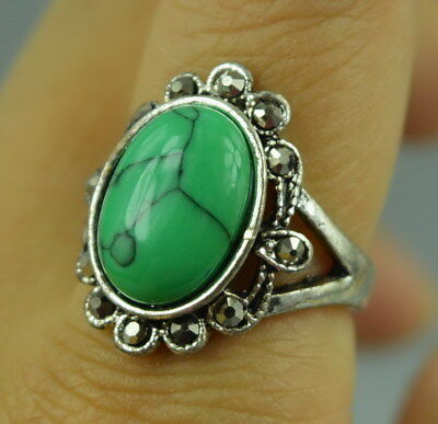 AAA Collectibles Decor Tibet Silver Carving Inlay Turquoise Rare Wonderful Ring