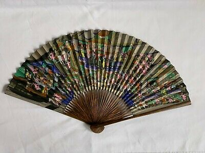 Antique Chinese Hand Painted Scenic Paper Fan Calligraphy Qing 19th Century