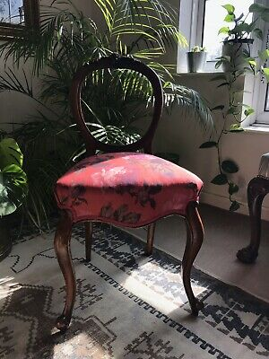 Victorian Walnut Balloon Back Chair Reupholstered In House Of Hackney Linen