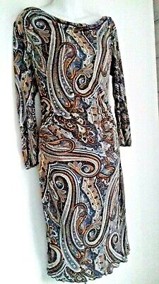 Vintage Paisley Midi Dress Size 10 Brown Blue White 1930S 40S 50S Stretch Jersey