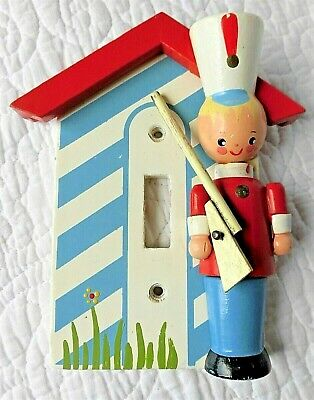 IRMI Vintage toy soldier house NURSERY decor painted shabby wooden Light switch