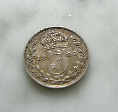 1889 Great Britain Three Pence 3d .925 Silver Coin Queen Victoria