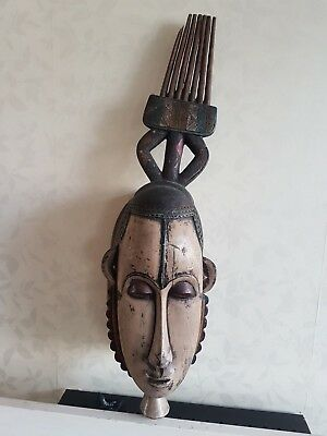 Large African wood Guro mask. Prominent example. Ivory Coast.
