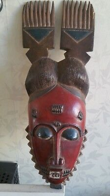 Fine  and colourful African Baule Mblo wood  mask. Ivory Coast.