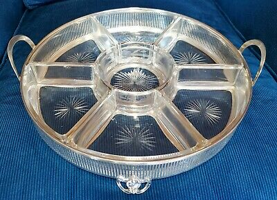 Antique Watson 7 pc Sectional Serving Platter Sterling Silver & Pressed Glass