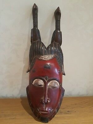 African Baule 'Mblo' wood mask. Colourful example. Ivory Coast.