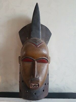 Rare African Yaure wood mask. Colourful and beautiful example. Ivory Coast.