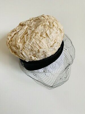 30bb3324 Vintage 1960's Christian Dior Miss Dior Ivory Hat With Black Netted Veil