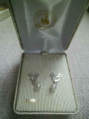Official New Disney Parks Epcot Mickey Mouse Silver Dangle Pearl Earrings
