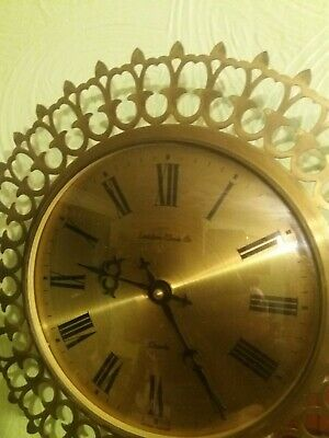 Retro 1970s  Vintage Brass Lattice Design Wall Clock in GWO