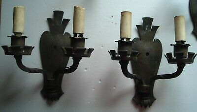 Pair of Gothic Style Antique Cast Bronze Wall Mount Double Sconce Light Fixtures