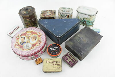 13 x Assorted Vintage BRANDED TINS Inc. Royal, Confectionery, Tobacco Etc