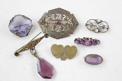 7 x Antique BROOCHES inc. Paste, Stone Set, Faux Pearl, Filigree
