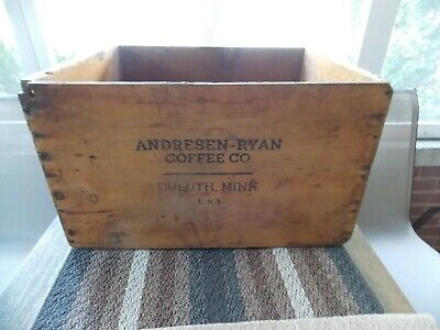 Antique advertising wood shipping crate Wak-Em Up Coffee tin can box storage old