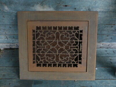 antique victorian cast iron grate register louvers with frame