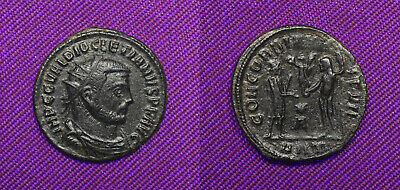 Diocletian AE Antoninianus Cyzicus 284-294 AD Harmony w/ the Soldiers reverse