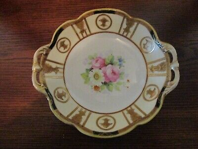 Vintage Nippon China Hand Painted Flowers With Gold Trim 8 Inch Bowl