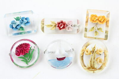 6 x Vintage & Retro LUCITE BROOCHES inc. Reverse Carved Sailing Boat, Flowers