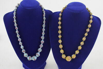 2 x True Vintage WEDDING CAKE GLASS BEAD NECKLACES Graduated, Hand Painted Beads