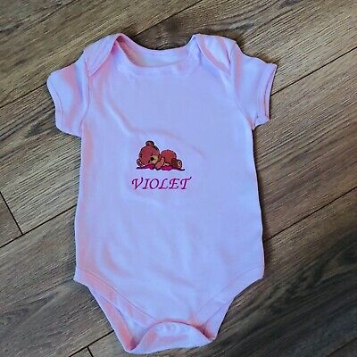Personalised any name baby Girl sleeping bear  bodysuit vest  embroidery gift