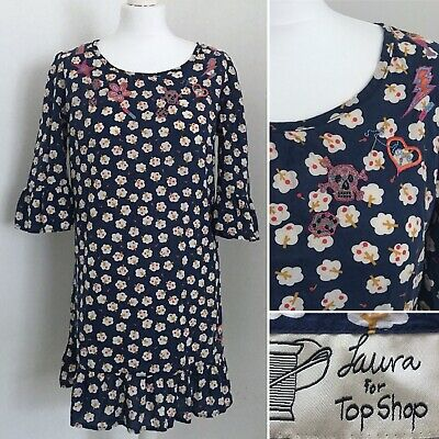 Laura Lees Topshop Retro Apple Tree Navy Blue Dress Embroidery Skull Cotton 8 10