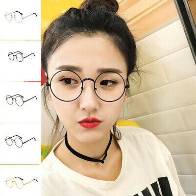 Fashion Oval Round Clear Lens Glasses Vintage Geek Nerd Retro Style Metal
