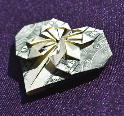 ORIGAMI Heart made from crisp $1 dollar bill note green side FREE P&P UK