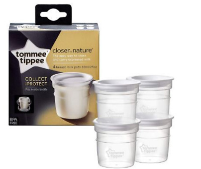 Breast Milk Storage Pots Containers Tommee Tippee Closer To Nature 60ml x 4pcs