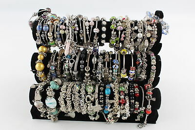 55 x Vintage & Retro Beaded BRACELETS inc. Charms, Glass, Silver Tone