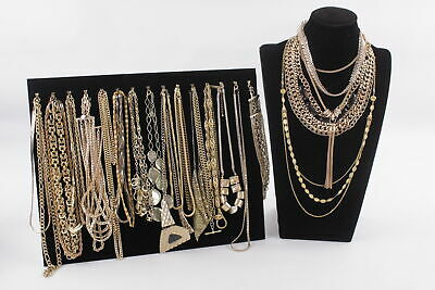 30 x Vintage & Retro Gold Tone NECKLACES inc. Statement, Chunky, Rope Chain