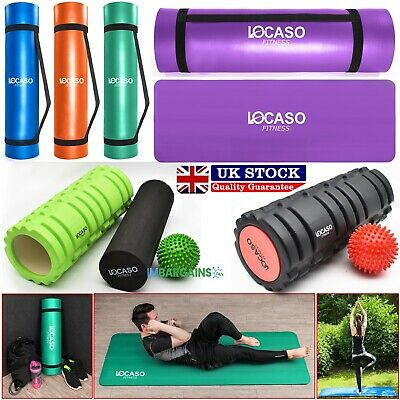 Yoga Mat for Pilates Gym Exercise Carry Strap 15mm Thick Large & Foam Roller UK