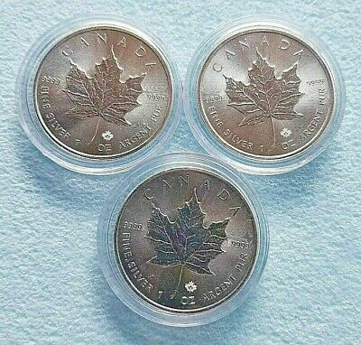Set of (3) 2015 Canadian Maple Leaf 1oz Silver Coins!