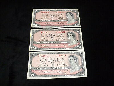 Bank Of Canada Lot -3X1954 $2.00 Notes==============================